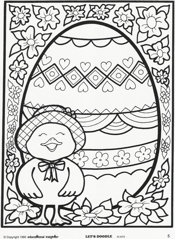 Easter Egg And Chick Coloring Page Free Educational