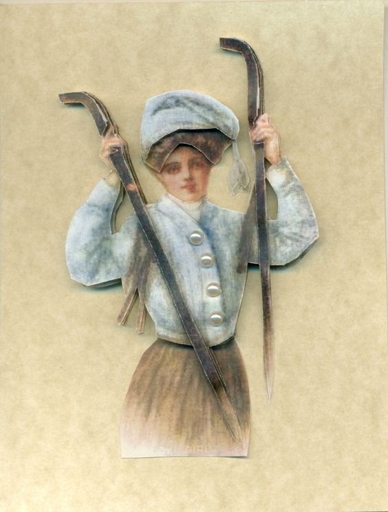 3D Card Winter Ski Lady