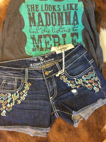 R cinco Ranch Native Denim Shorts