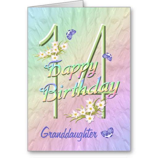=>>Cheap Granddaughter 14th Birthday Butterfly Garden Card