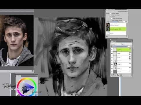 ▶ Corel Painter X3 monochromatic sketch tutorial. - YouTube