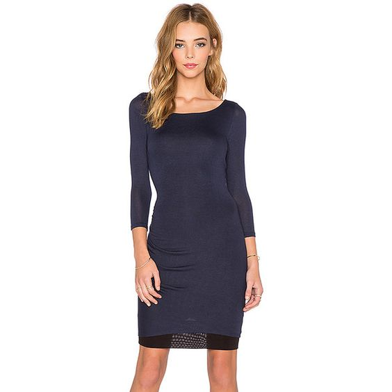three dots Reversible 3/4 Sleeve Shirred Dress Dresses