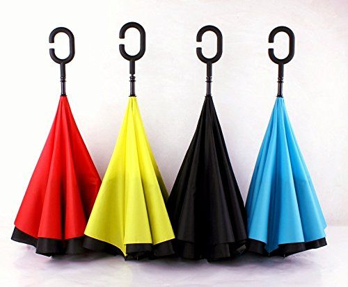 HANBUN Windproof Reverse Folding Double Layer Inverted Umbrella and Self Standing Inside Out Rain Protection Umbrella with C-shaped Hands Free Handle HU002 (YELLOW) * Check out the image by visiting the link.