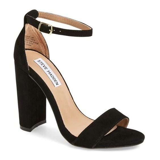 "Steve Madden 'Carrson'Sandal, 3 3/4"" heel (£58) ❤ liked on Polyvore featuring shoes, sandals, black suede, steve-madden shoes, suede sandals, black chunky heel sandals, black suede shoes and thick heel sandals"