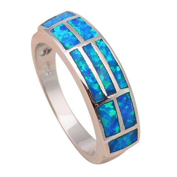 Royal regali di anniversario!  Design blu fuoco opal 925 anelli d'argento dei monili usa formato #6.5 #6.75 #7.5 #7.75 OR438A(China (Mainland))