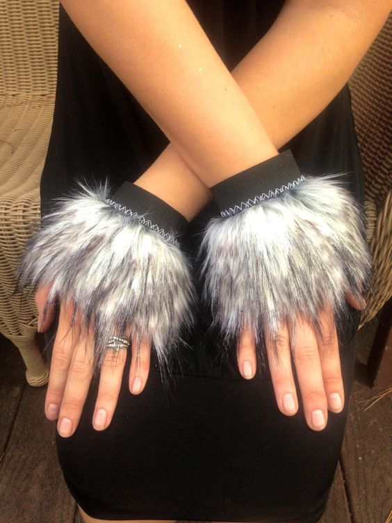 GRey WOLf wrist CUFFS -- faux fur Black White Grey . Costume Accessory unisex furry animal fluffies spirit cuffs gloves dire wolf cosplay. Tutorial please?
