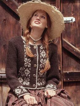 Damenjacke, 5414 - Gratisanleitung: Ein ganz besonderer Hingucker ist diese hübsche traditionelle Damenjacke aus Schachenmayr original Trachtenwolle.