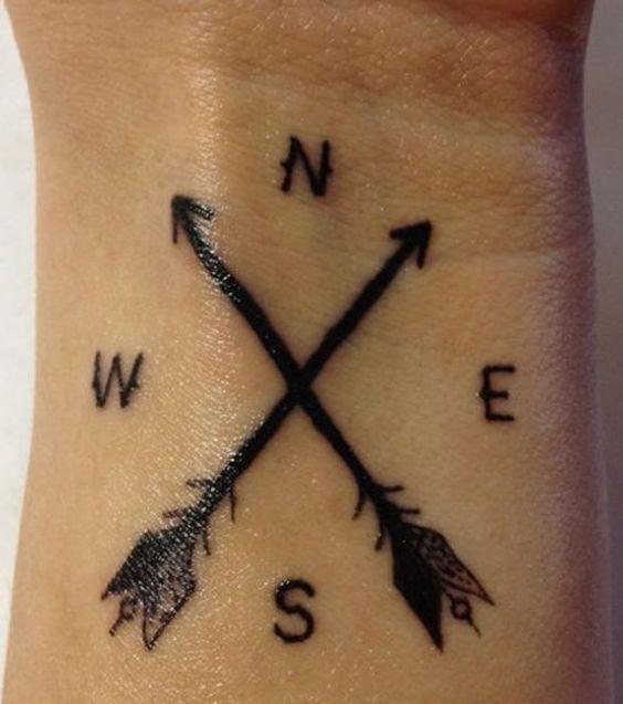 Tatouage: deux flèches croisées sur le bras, indiquent les différents pôles