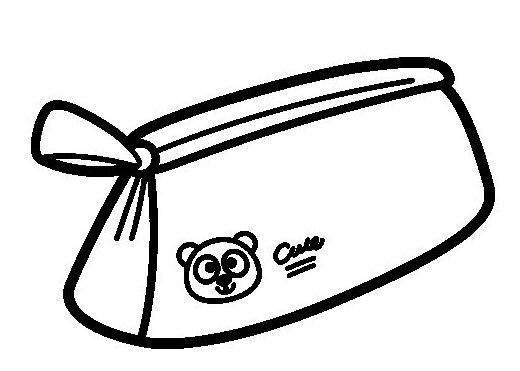 Cute School Pencil Case With Bear Themed Coloring Page School