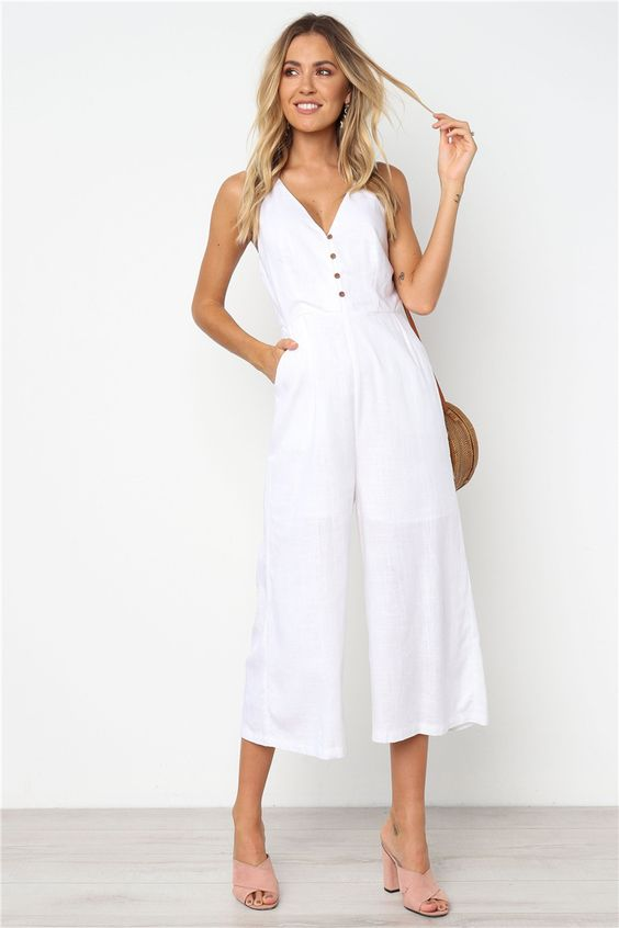 Summer Loose Cotton Button Pocket Deep V neck Wide Leg Jumpsuits For Women 2019 Rompers Womens Jumpsuit | Women Clothing Online Store