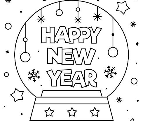 Happy New Year Coloring Page Numbers Pictures