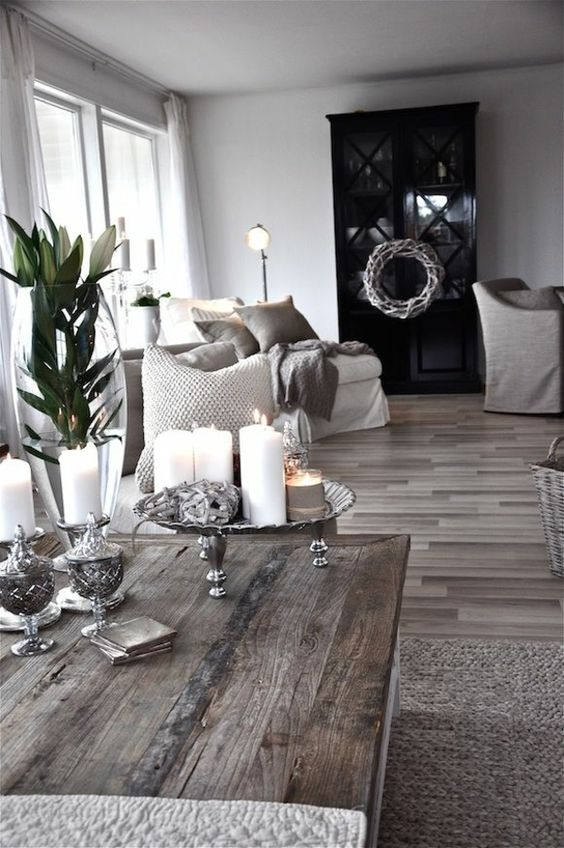 Rustikales wohnzimmer essen and wohnzimer on pinterest for Grey shabby chic living room ideas