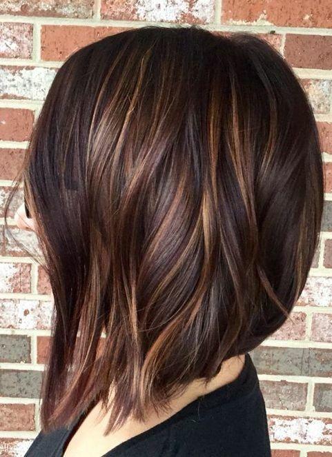 Dark Base Color But Auburn Highlights Hair Styles Hair Lengths Short Hair Styles