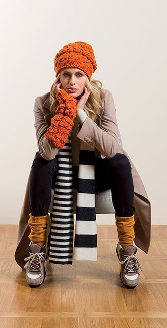 Malo striped black and white scarf and orange hat