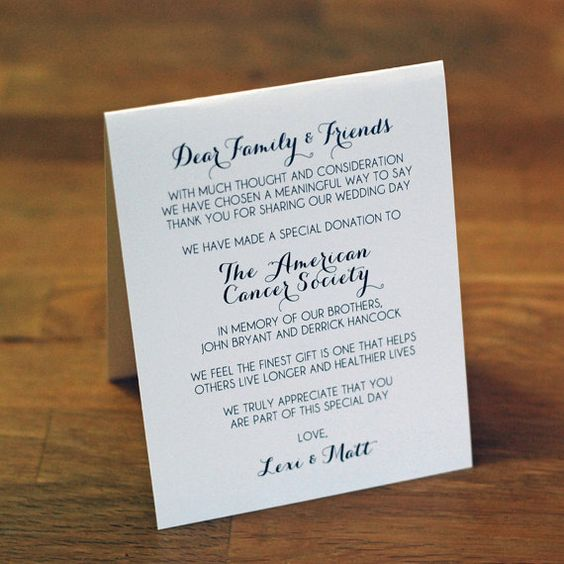 "Calligraphy Design - Tented Wedding Favor Sign - 5.5 tall x 4.25"" wide - Donation Cards, Reception, Dinner signs"