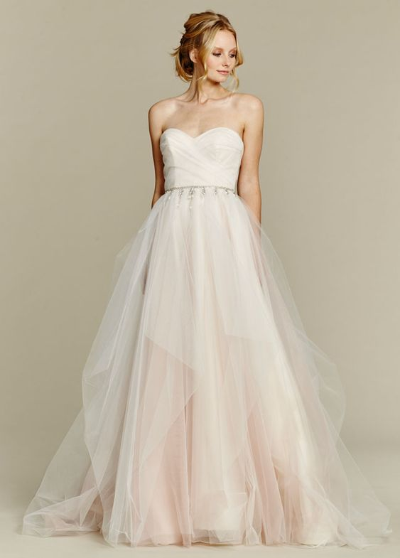 <p>Dolce</p>Cherry Blossom draped tulle bridal ball gown, strapless sweetheart bodice and chandelier beaded belt at natural waist, full tulle skirt with pick up detail. Bridal Gowns, Wedding Dresses - Jim Hjelm Blush - JLM Couture Inc. - Bridal Style 1556 by JLM Couture, Inc.: