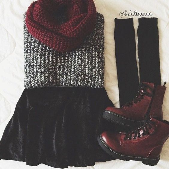 gray sweater , black velvet skater skirt , burgundy knit scarf , dark red doc martens , black knit knee high socks: