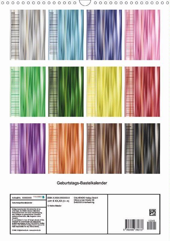 Ein farbenfroher immerwährender Geburtstags-Kalender - jeder Monat in einer Farbe aus dem Farbkreis.  Lassen Sie Ihrer Kreativität freien Lauf und füllen Sie den Kalender nach Ihren Vorstellungen mit ebenso bunten Bildern und Texten. Sie können diese