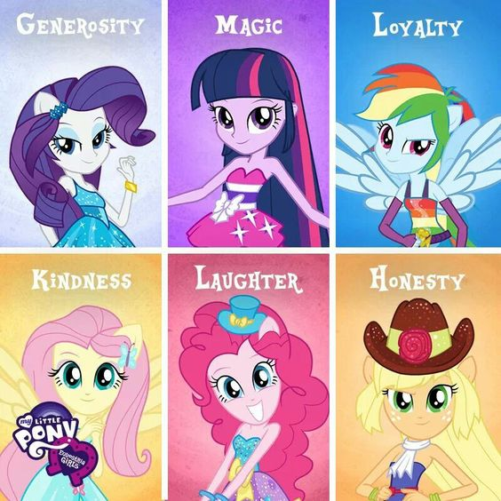 Rarity, Pinkie Pie, Fluttershy, Applejack, Twilight Sparkle and Rainbow Dash. The Elements of Harmony