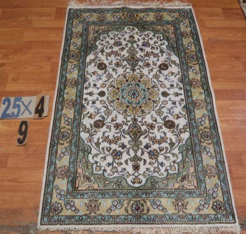 "2'6"" x 4' Handmade Hand-knotted 200 kpsi Ivory Silk Persian Tabriz Rug 734"