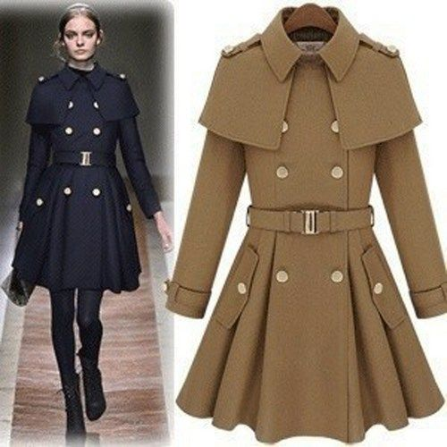 Runway Chic Military Inspired Navy Poncho Woolen Coat. Winter Coat