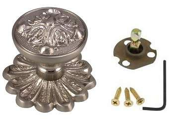 Solid Brass Romanesque Style Dummy Door Knob Set (Satin Nickel Finish)