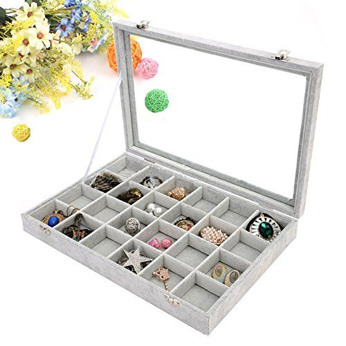 Wuligirl Clear Lid Velvet 100 Slot Ring Display Jewelry Tray Stackable Storage Organizer Rings Box Showcase Lockable 100 Slot Rings Box Jewelry Display Case Jewellery Display Jewelry Tray