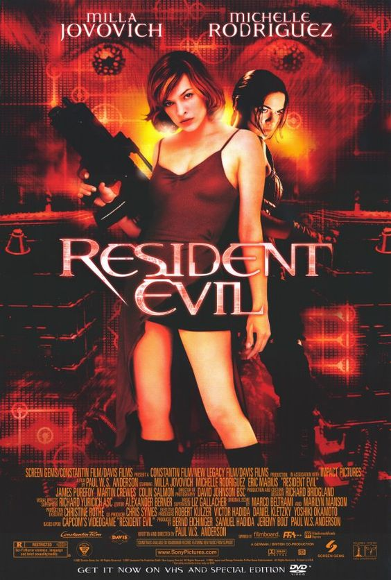 """""""Resident Evil"""" - A special military unit fights a powerful, out-of-control supercomputer and hundreds of scientists who have mutated into flesh-eating creatures after a laboratory accident. Image and info credit: IMDb."""