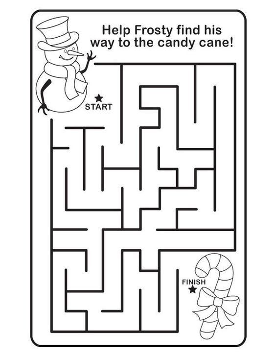 Christmas maze Christmas coloring pages