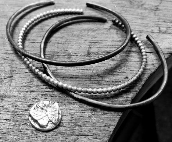 Bracelets and Butterflies Silver Cameo, Cuff Bracelets