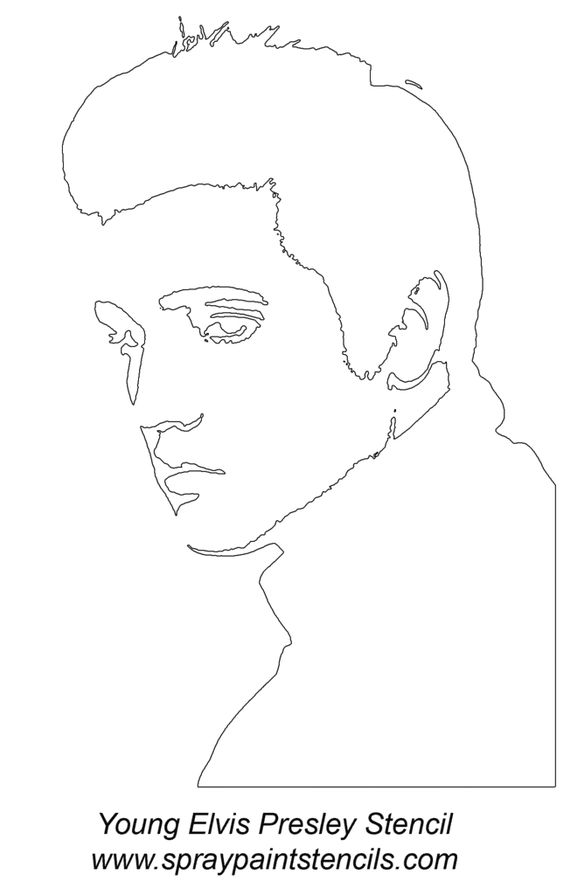 Elvis face stencil photo young elvis presley for Elvis coloring pages