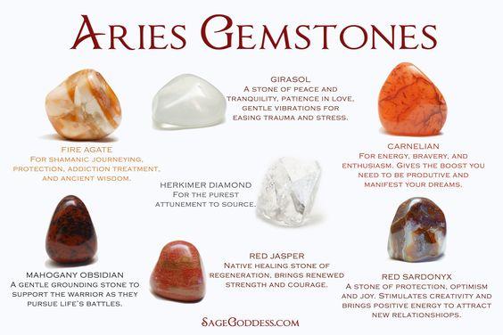 Aires Gemstones: Fire agate, girasol, carnelian, herkimer diamond, mahogany osidian, red jasper, red sardonyx: