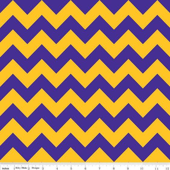 Medium Purple and Gold Chevron Fabric by Riley Blake - 1 yard ...