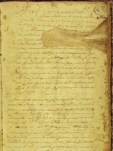"""Cidade Perdida, Fundação Biblioteca Nacional, documento manuscrito, datado de 1754, identificado como """"Documento 512"""" - um mapa de uma """"Cidade Perdida""""."""