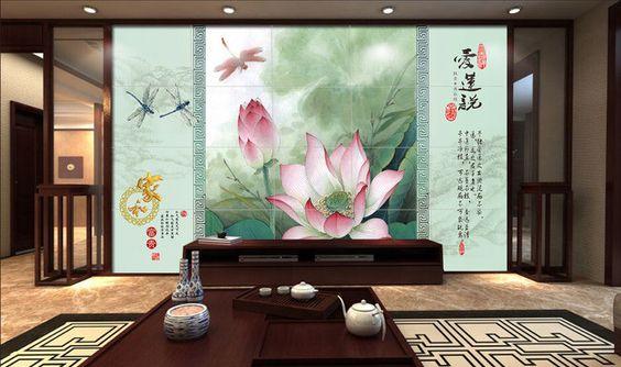 tapisserie asiatique zen papier peint chinois romantique paysage avec les lotus et les. Black Bedroom Furniture Sets. Home Design Ideas