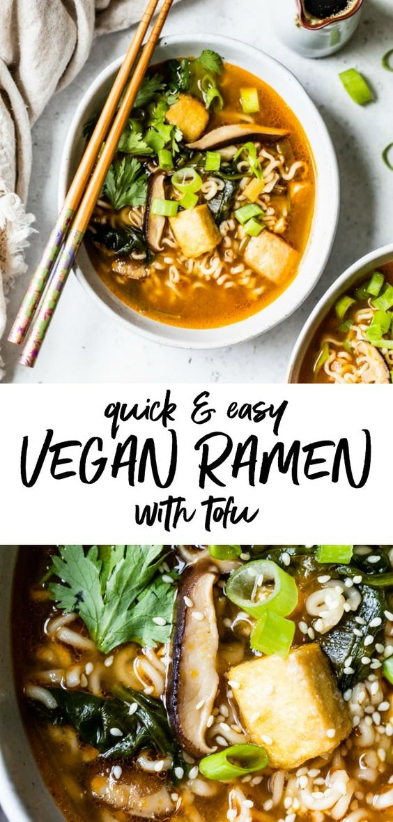 This easy Vegan Ramen recipe is made with ramen noodles and is loaded with flavor. It's HEALTHY and has the most delicious broth, and is filled with fried tofu and veggies. #ramen #vegan