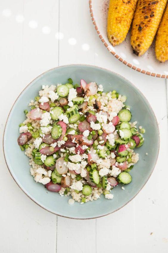 Grilled Radish and Armenian Cucumber Couscous Salad | @naturallyella