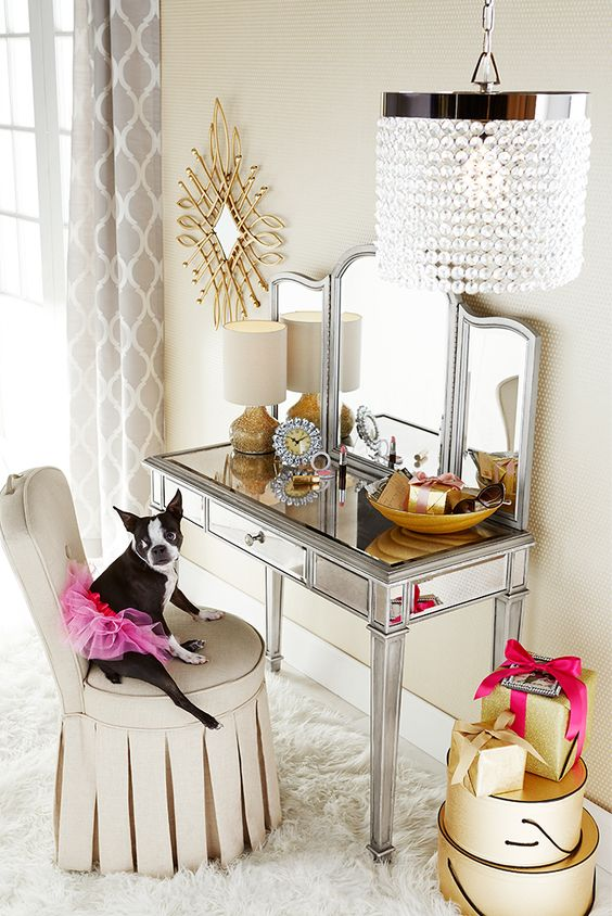Pier 1's Hayworth Vanity makes a glamorous gift for anyone who likes to primp a little before heading out. Handcrafted, hand-painted and covered with bevel-cut mirrored glass, it can serve as dressing table or small desk. Add the folding mirror, available separately, and you have the perfect present pairing.
