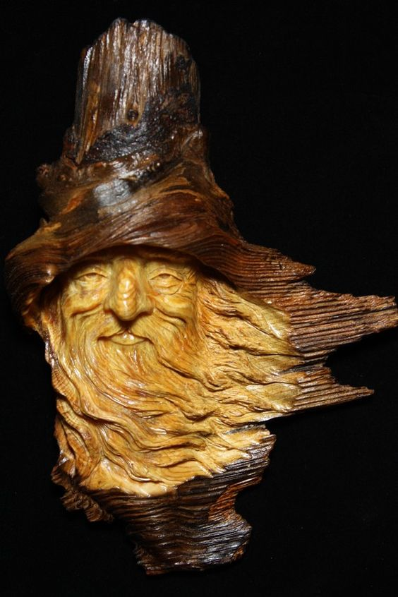 Wood spirit carving by treewiz of etsy