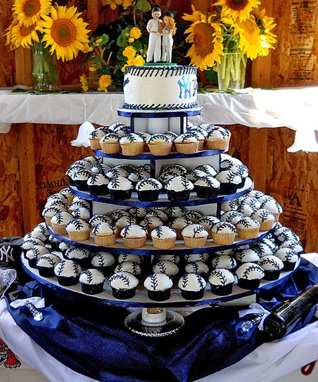 This is a neat idea for a grooms cake and the cupcake stand is perfect for this, (or any party).