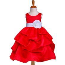"""Φορέματα για Παρανυφάκια - Πάρτυ :: Παιδικό ΚΟΚΚΙΝΟ Φόρεμα, Πάρτι, Σατέν με Συνοδευτικό Ζώνη, Λουλούλι & Πισινό Φιόγκο, """"Pandora"""" - MEMOIRS Νυφικά και Γυναικεία Φορέματα"""