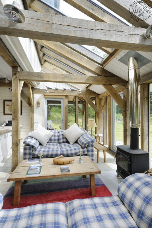 Oak framed house. Preferably old with stone infilling. Build a modern extension, fun.: