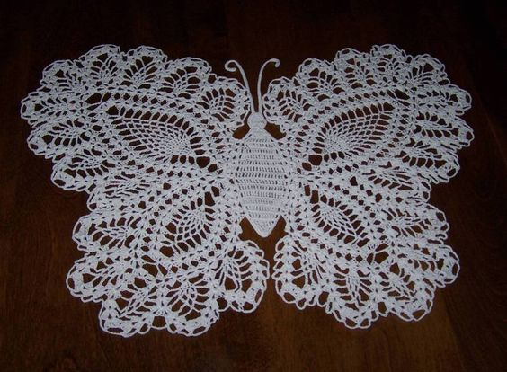 Free Crochet Patterns For Butterfly Doilies : Large Butterfly crocheted butterflies, birds, and bees ...
