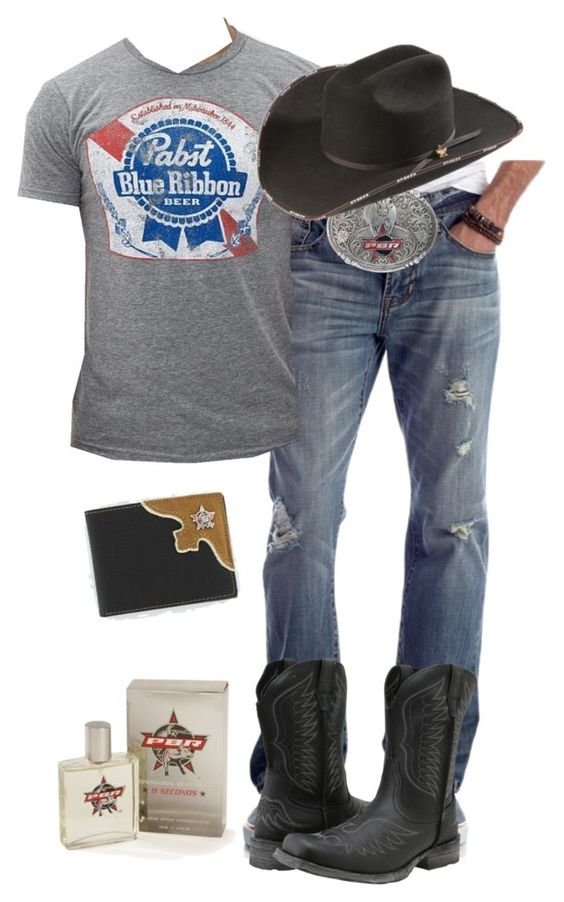 """His Wear PBR"" by muddyramcowgirl ❤ liked on Polyvore featuring Chip & Pepper, Ariat, Distant Replays, men's fashion and menswear"
