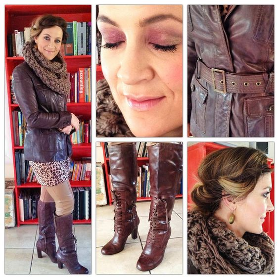 Scarf (snood): citymob.co.za. Leather jacket: Turkey (2 years ago). Leopard print long jersey: Truworths. Boots: Nine West (stained a bit darker with shoe polish). Riding pants: Woolies