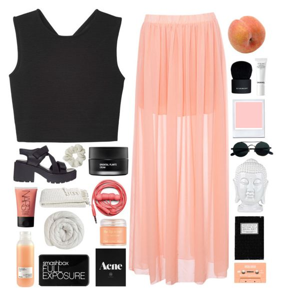 """""""HELLO FROM THE OTHER SIDE//TaG"""" by sxturn ❤ liked on Polyvore featuring Monki, Pull&Bear, Vagabond, Pavilion Broadway, Givenchy, Chanel, NARS Cosmetics, Topshop, Koh Gen Do and Urbanears"""