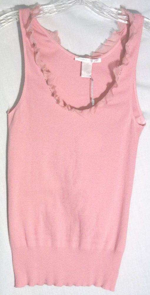New REBECCA TAYLOR Pink Top  Bead/Sequin Trim -Silk Ravel Trim -Large -Tag $98 #RebeccaTaylor #KnitTop #Top #pink