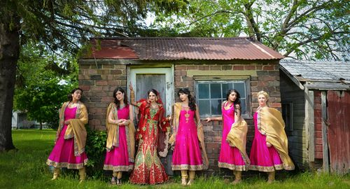 Sensational fuchsia Anarkali Bridesmaids dresses for an Indian wedding. #shaadishop