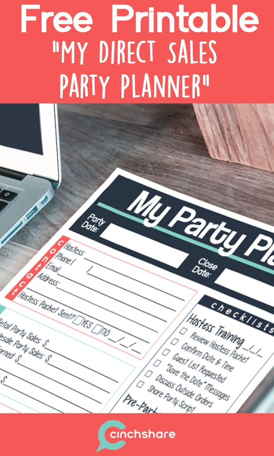Get organized for your next direct sales party with this FREE - free party planner template