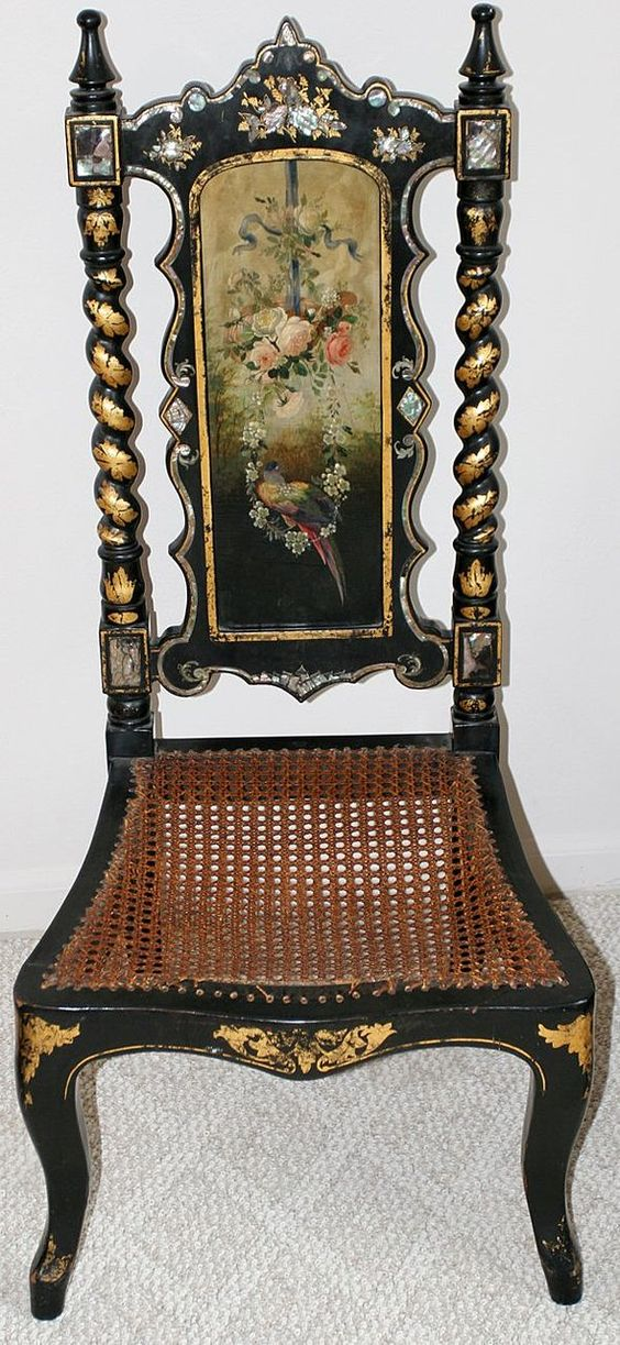 Victorian Mother Of Pearl Floral And Bird Painted Chair For sale on Ruby Lane: